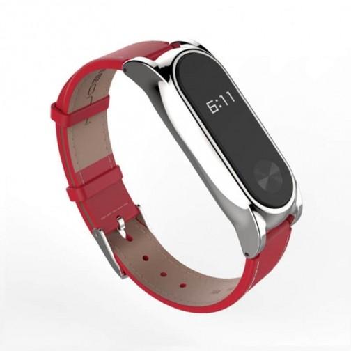 Xiaomi MiBand 2 kožený náramek - červený