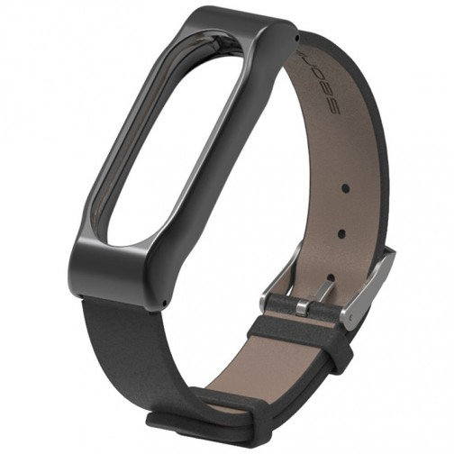 Xiaomi Mi Band 2 kožený náramek, černý