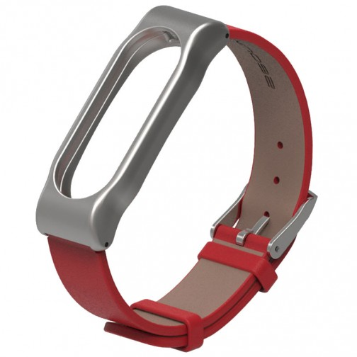 Xiaomi Mi Band 2 kožený náramek, červený
