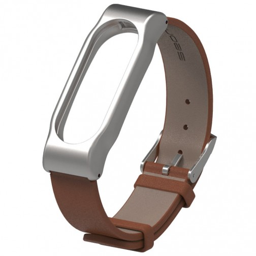 Xiaomi Mi Band 2 kožený náramek, hnědý