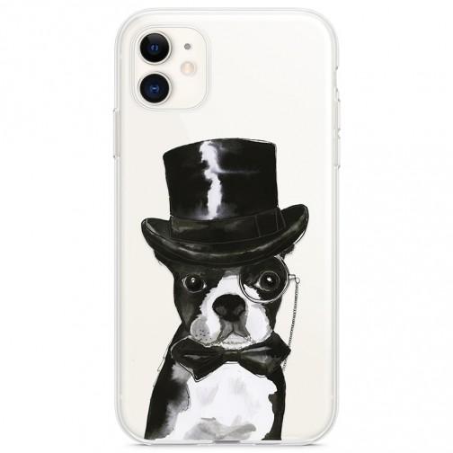 Kryt pro iPhone 11 Buldok elegán v klobouku