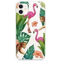 Kryt pro iPhone 11 Tropičtí plameňáci a gepardi