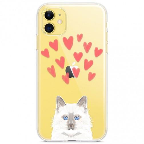 Kryt pro iPhone 11 Modrooká kočka se srdíčky