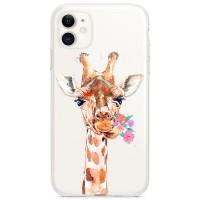 Kryt pro iPhone 11 Žirafa s kyticí