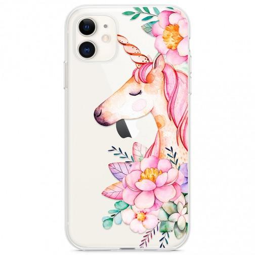 Kryt pro iPhone 11 Jednorožec s květinami