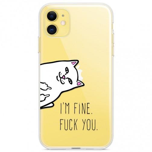 """Kryt pro iPhone 11 Fu*k cat """"i'm fine fu*k you"""""""