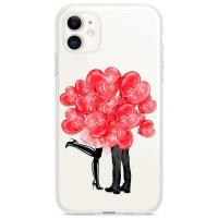 Kryt pro iPhone 11 Pusa za valentýnskými balónky