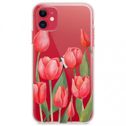 Kryt pro iPhone 11 Vzor červené tulipány