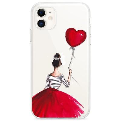 Kryt pro iPhone 11 Dívka v červené sukni s balónkem