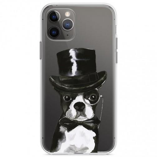 Kryt pro iPhone 11 Pro Buldok elegán v klobouku