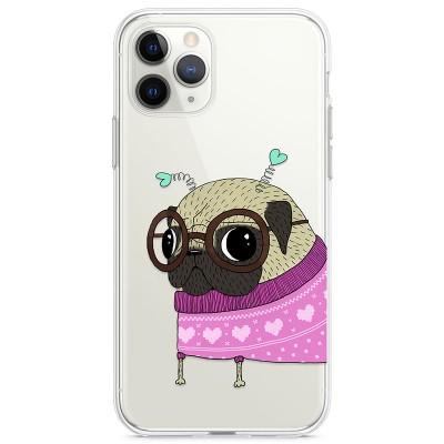 Kryt pro iPhone 11 Pro Mopsík v růžovém svetru s tykadly