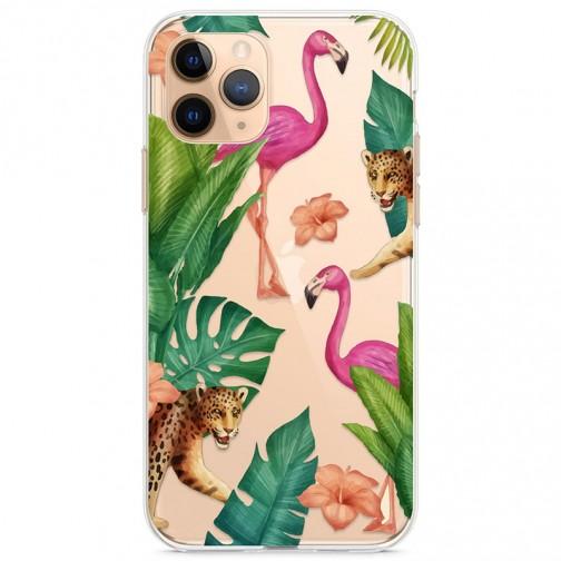 Kryt pro iPhone 11 Pro Tropičtí plameňáci a gepardi