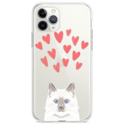 Kryt pro iPhone 11 Pro Modrooká kočka se srdíčky