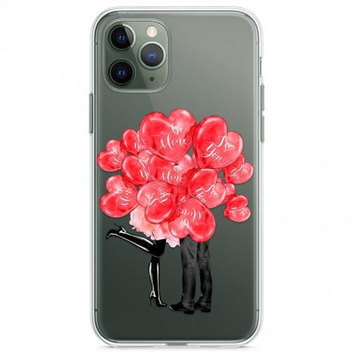 Kryt pro iPhone 11 Pro Pusa za valentýnskými balónky