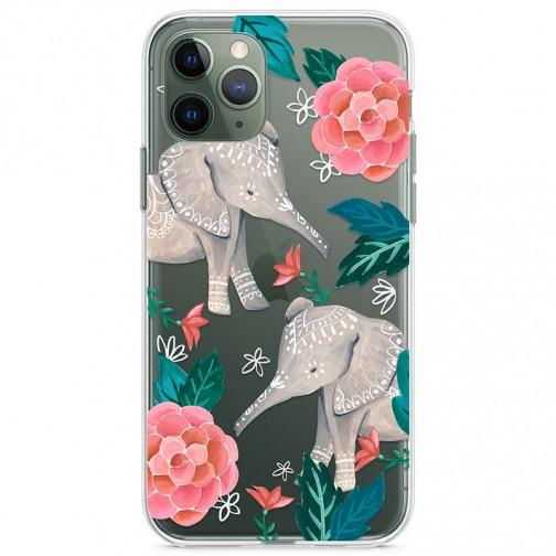 Kryt pro iPhone 11 Pro Sloni s květinami
