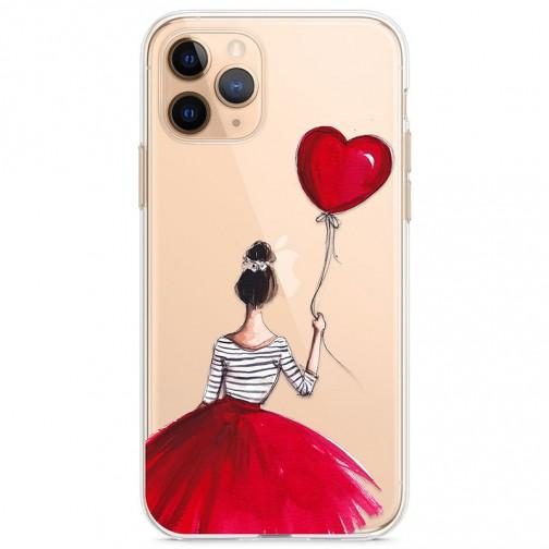 Kryt pro iPhone 11 Pro Dívka v červené sukni s balónkem