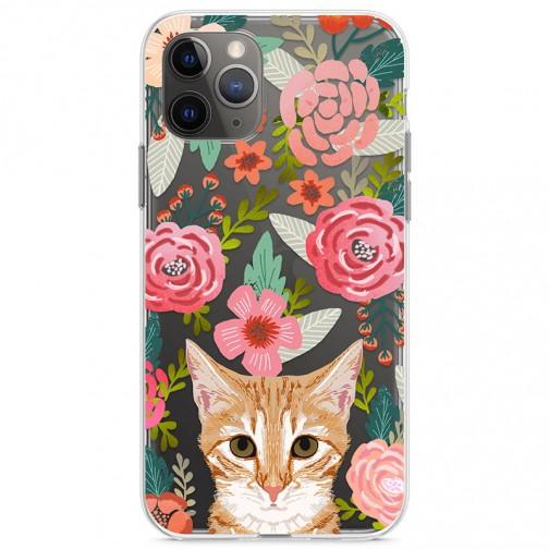 Kryt pro iPhone 11 Pro Rezavá kočička v kytičkách
