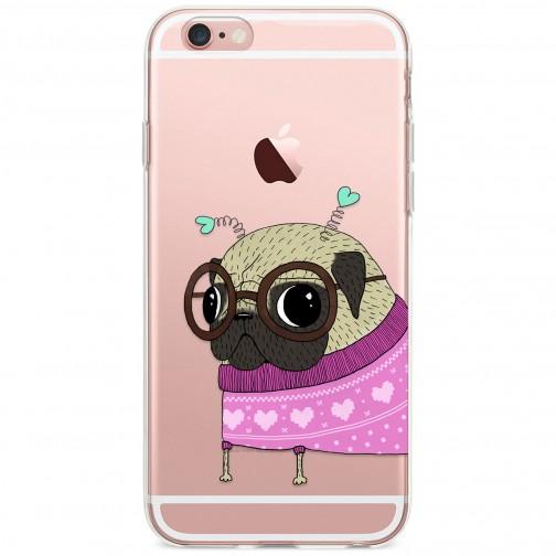 Kryt pro iPhone 6/6s Mopsík v růžovém svetru s tykadly