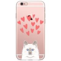 Kryt pro iPhone 6/6s Modrooká kočka se srdíčky