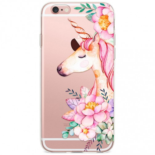 Kryt pro iPhone 6/6s Jednorožec s květinami