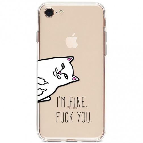 "Kryt pro iPhone 7/8/SE (2020) Fu*k cat ""i'm fine fu*k you"""