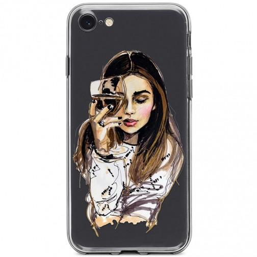 Kryt pro iPhone 7/8/SE (2020) Žena se sklenicí vína