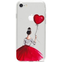 Kryt pro iPhone 7/8/SE (2020) Dívka v červené sukni s balónkem