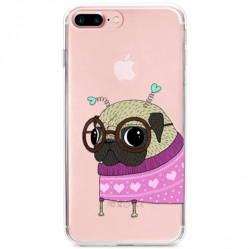 Kryt pro iPhone 7 Plus / 8 Plus Mopsík v růžovém svetru s tykadly