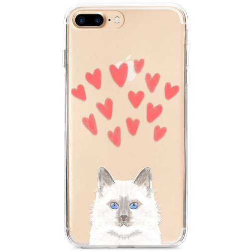Kryt pro iPhone 7 Plus / 8 Plus Modrooká kočka se srdíčky
