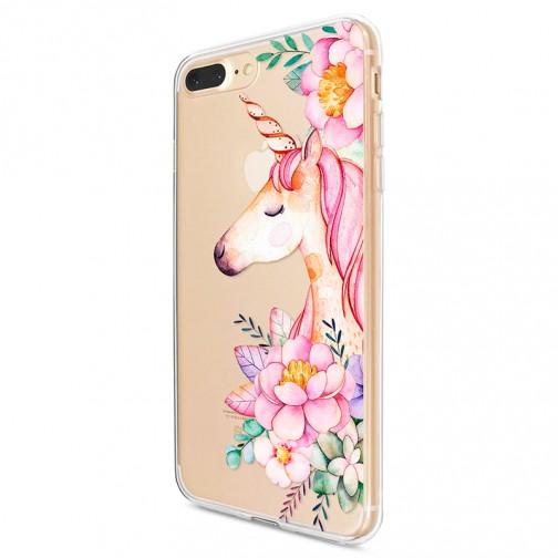 Kryt pro iPhone 7 Plus / 8 Plus Jednorožec s květinami
