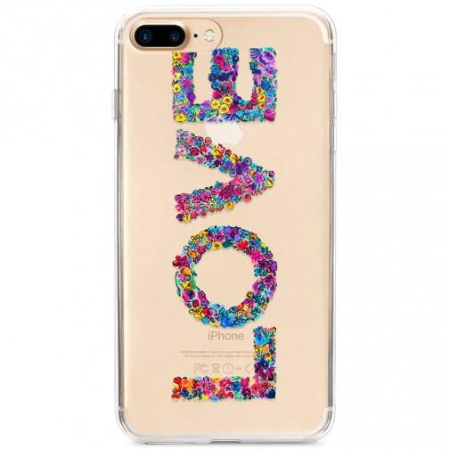 Kryt pro iPhone 7 Plus / 8 Plus Nápis LOVE květinami