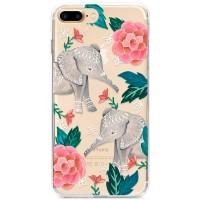 Kryt pro iPhone 7 Plus / 8 Plus Sloni s květinami