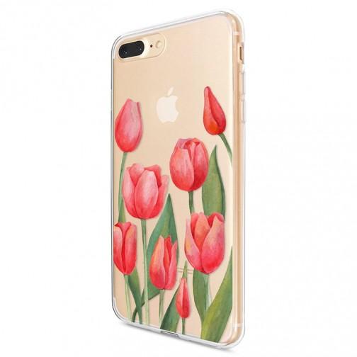 Kryt pro iPhone 7 Plus / 8 Plus Vzor červené tulipány