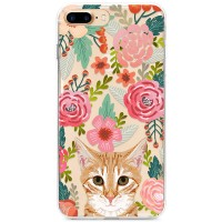 Kryt pro iPhone 7 Plus / 8 Plus Rezavá kočička v kytičkách
