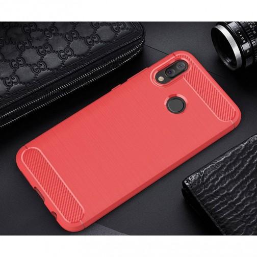 Pouzdro Carbon Brushed pro Huawei P20 Lite - červené