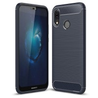 Pouzdro Carbon Brushed pro Huawei P20 Lite - modré