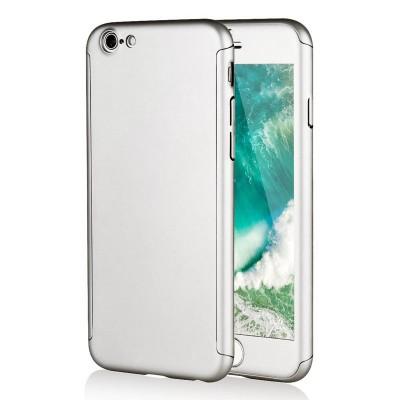 Kryt 360 pro iPhone 6/6s + tvrzené sklo na displej - stříbrný