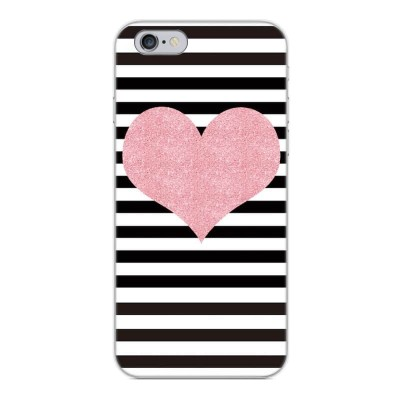 Silikonový kryt pro iPhone 6/6s Srdce a pruhy