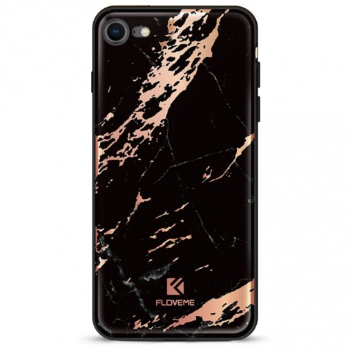 FLOVEME ochranný plastový kryt pro iPhone 7/8, černý mramor