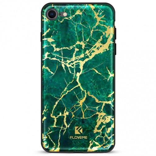 FLOVEME ochranný plastový kryt pro iPhone 7/8/SE 2020 zelený mramor