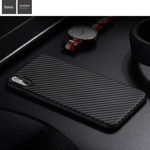 Plastový kryt na iPhone X/XS HOCO Carbon Fibre, ultratenký, černý