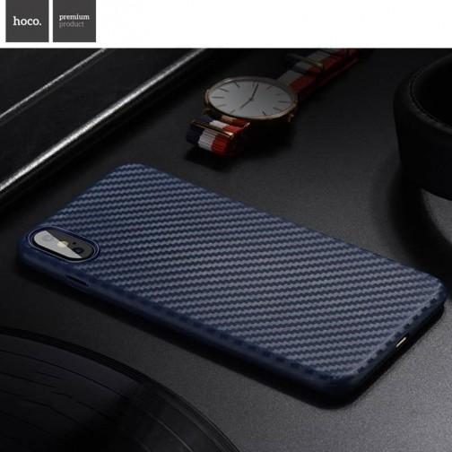 Plastový kryt na iPhone X HOCO Carbon Fibre, ultratenký, modrý