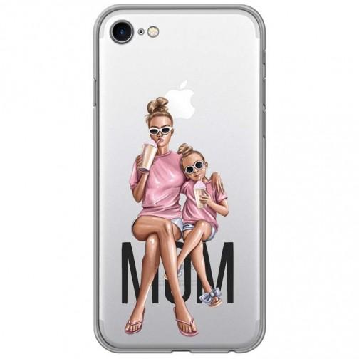 Pružný kryt na iPhone 7/8 Maminka s dcerou