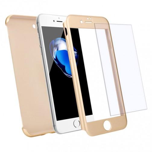 Kryt 360 pro iPhone 8/7 + tvrzené sklo na displej - zlatý