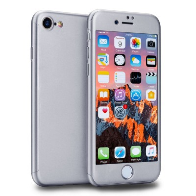 Kryt 360 pro iPhone 8/7 + tvrzené sklo na displej - stříbrný
