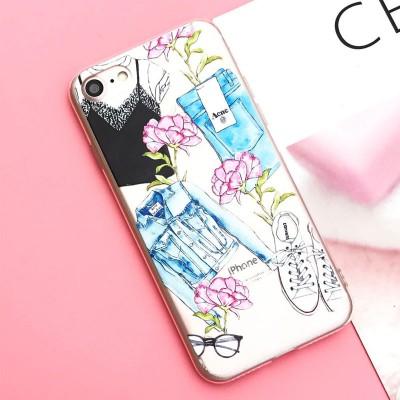 Silikonový kryt pro iPhone 7/8 Oblečení s květinami