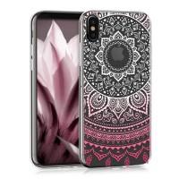 Průhledný kryt na iPhone X - kwmobile indické slunce, růžový