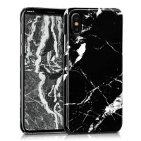 Mramorový kryt na iPhone X/XS - kwmobile, black/white