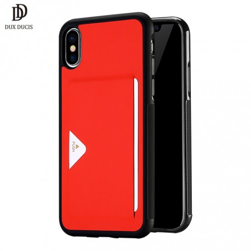 Luxusní pouzdro na iPhone X/XS DUX DUCIS Pocard Series, červené