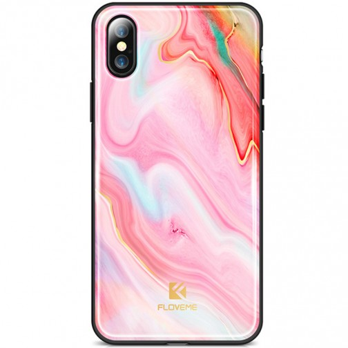 Kryt FLOVEME Agante Marble pro Apple iPhone X/XS sexy pink